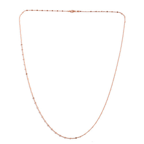 Rose Gold Overlay Sterling Silver Diamond Cut Rolo Chain (Size 30), Silver wt 4.00 Gms.