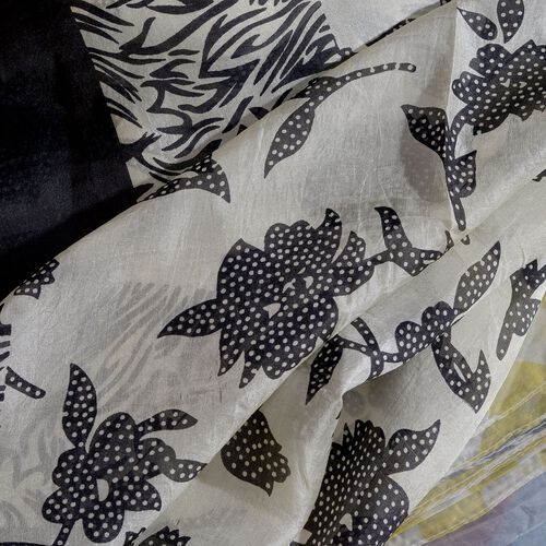 100% Mulberry Silk Black and White Colour Handscreen Floral and Zebra Printed Pareo (Size 180X100 Cm)