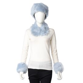 3 Piece Set - Faux Fur Hat, Scarf and Cuff Bracelet - Blue