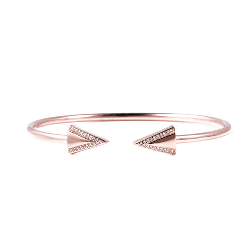 LucyQ Art Deco Collection Zircon Arrow Bangle in Rose Gold Plated Sterling Silver 7.5 Inch
