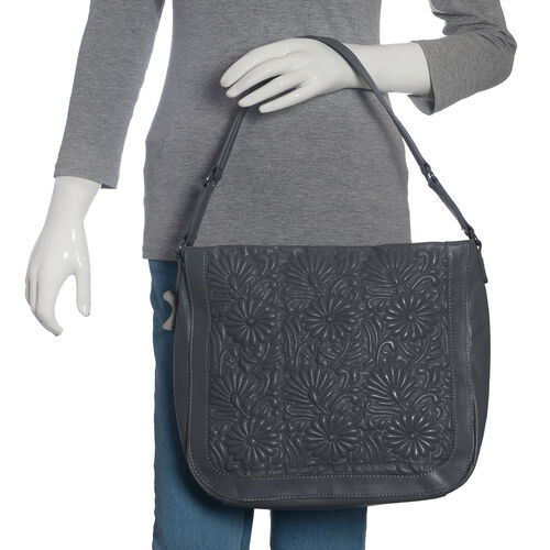 100% Super Soft New Zealand Leather Flower Quilted Grey Colour Handbag with Shoulder Strap (30x9x33 Cm)