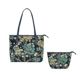 Signare Tapestry - 2 Piece Set William Morris Tree of Life Art Shoulder Bag with Free Matching Make