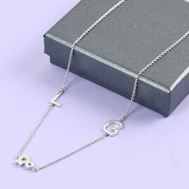 Personalise Two Alphabet + &, Name Necklace in Silver, Size 18+2 Inch