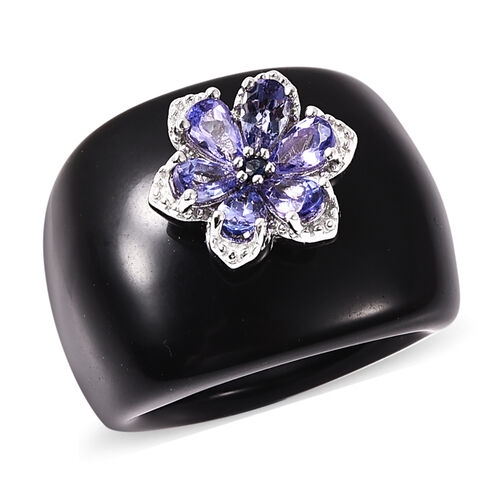 Black Onyx, Tanzanite and Madagascar Blue Sapphire Floral Ring in Rhodium Overlay Sterling Silver 51