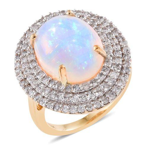 Signature Collection-ILIANA 18K Yellow Gold AAAA Ethiopian Welo Opal (Ovl 6.50 Ct), Diamond (SI/G-H) Ring 8.000 Ct. Gold Wt 9.43 Gms