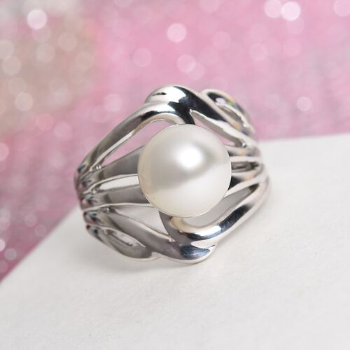 Royal Bali Collection - South Sea Pearl Ring in Platinum Overlay Sterling Silver