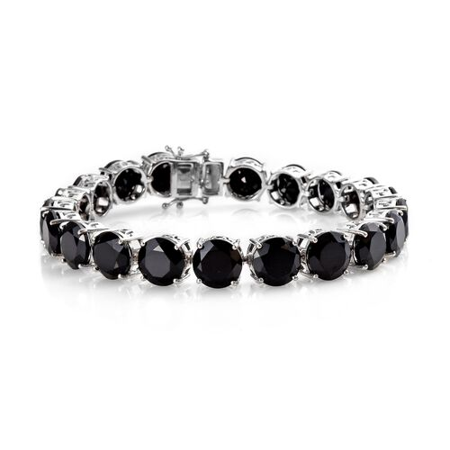 2 Piece Set - Natural Boi Ploi Black Spinel (Rnd 9 mm) Bracelet (Size 7.50) and Stud Earrings (with Push Back) in Platinum Overlay Sterling Silver 70.00 Ct, Silver wt 16.70 Gms