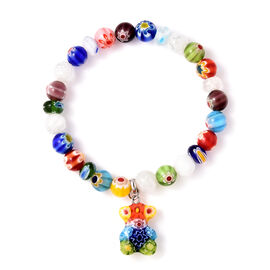 Multi Colour Murano Glass, Orange Colour Murano Glass Stretchable Bracelet (Size 6.5) in Stainless S