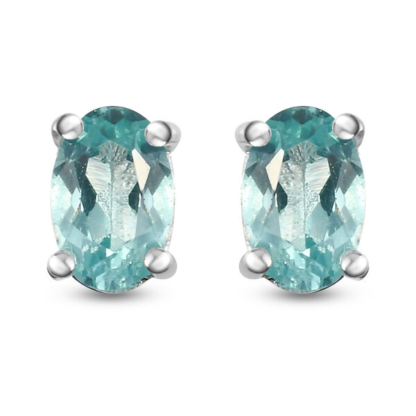 1 Carat Paraibe Apatite Solitaire Stud Earring in Silver