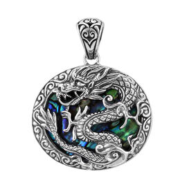 Bali Legacy Collection Abalone Shell Dragon Pendant in Sterling Silver, Silver wt 13.00 Gms