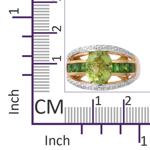 Hebei Peridot (Ovl 2.91 Ct), Russian Diopside Ring in Yellow Gold and Rhodium Overlay Sterling Silver 3.750 Ct, Silver wt 5.78 Gms.