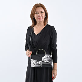 Hong Kong Closeout Collection Genuine Leather Snake Print Convertible Bag (Size 28x3x17cm) - Black &