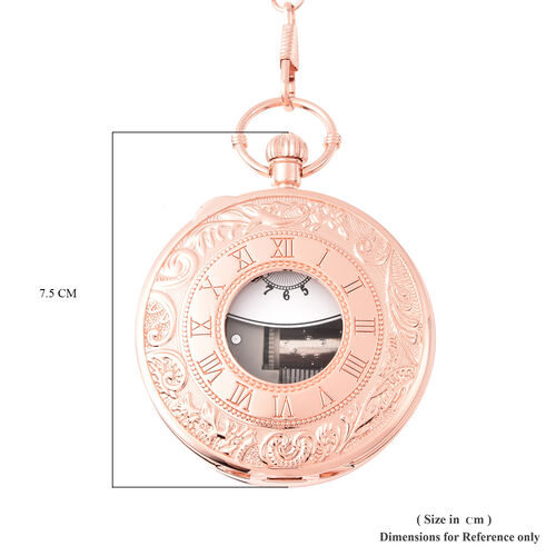 STRADA Japanese Movement Roman Number Pattern Water Resistant Music Pocket Watch with Chain (Size 14) in Rose Gold Tone