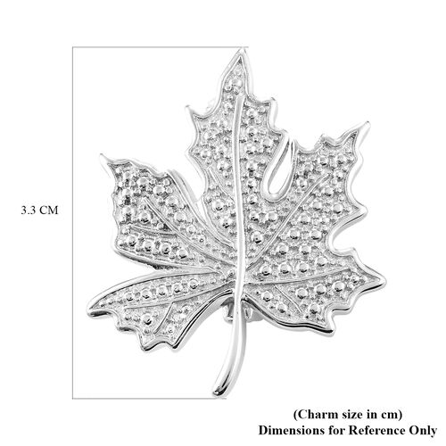 Diamond Maple Leaf Pendant in Silver Tone
