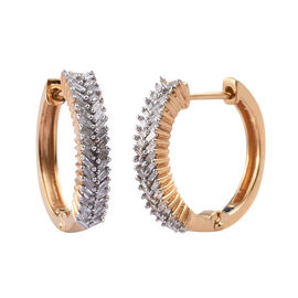 GP 0.56 Ct Kanchanaburi Blue Sapphire and Diamond Hoop Earrings in Gold Plated Silver 5.5 Gms