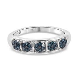 Blue Diamond Band Ring in Platinum Overlay Sterling Silver 0.21 Ct.