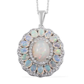 4.45 Ct Ethiopian Opal and Cambodian Zircon Halo Pendant with Chain in Sterling Silver