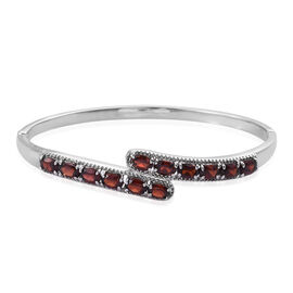 6 Carat Multi Gemstones Bypass Design Bangle in Silver Tone 7.5 Inch