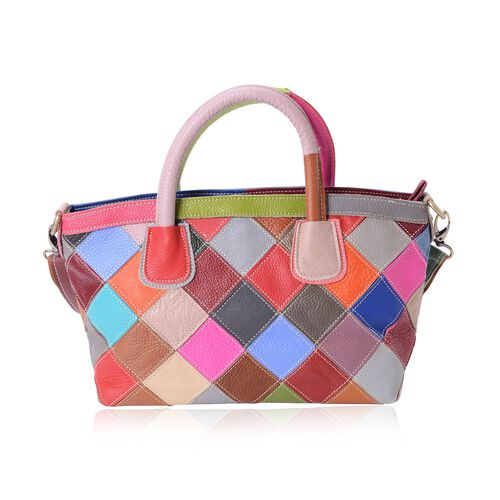 100% Genuine Leather Multi Colour Tote Bag with Shoulder Strap (Size 33x26x20x13 Cm)