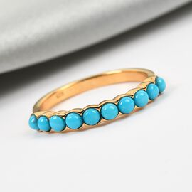 Arizona Sleeping Beauty Turquoise Half Eternity Band Ring in 14K Gold Overlay Sterling Silver 0.85 C