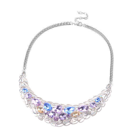 Purple Austrian Crystal, Simulated Multi Colour Gemstone and Simulated Mystic White Crystal Necklace