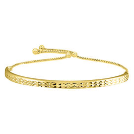 JCK Vegas Collection - Yellow Gold Overlay Sterling Silver Diamond Cut Bracelet (Size 6.5-9.5)