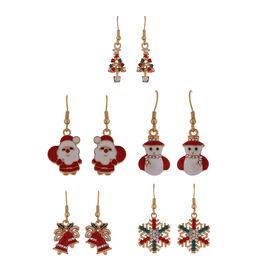 5 Pcs Set Multi Colour Austrian Crystal Hook Earrings