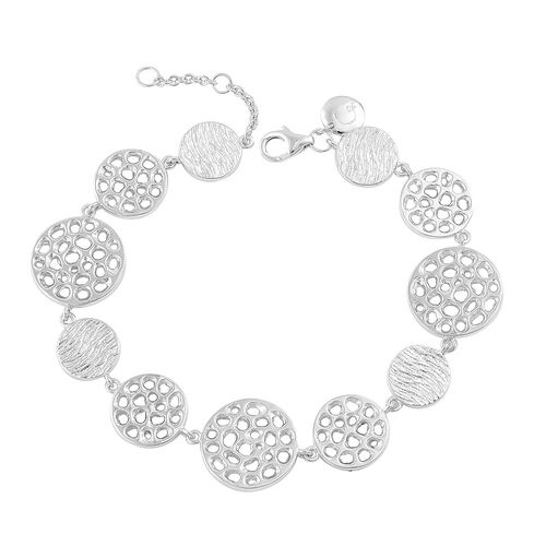 RACHEL GALLEY Rhodium Plated Sterling Silver Ocean Full Bracelet (Size 7 with 1 inch Extender), Silver wt. 16.08 Gms.