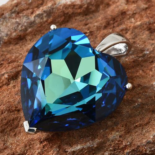 J Francis - Crystal from Swarovski - Swarovski Bermuda Blue Crystal (Hrt 28 mm) Pendant in Platinum Overlay Sterling Silver
