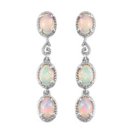 Ethiopian Welo Opal (Ovl) Dangle Earrings (with Push Back) in Platinum Overlay Sterling Silver 1.75