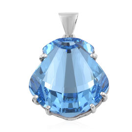 J Francis - Crystal from Swarovski  Aquamarine Colour Crystal Pendant in  Platinum Overlay Sterling