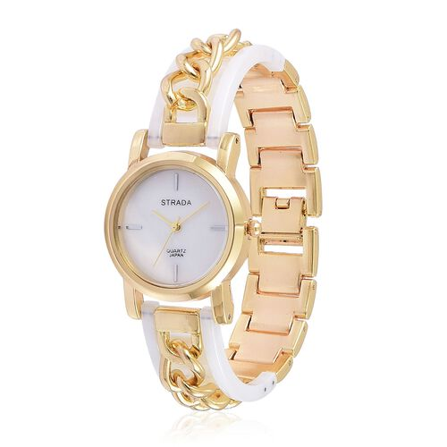 STRADA Japanese Movement MOP Dial Watch in Gold Tone with Stainless Steel Back and White Colour Strap