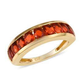 Jalisco Fire Opal (Ovl) Half Eternity Band Ring in 14K Gold Overlay Sterling Silver 1.00 Ct.