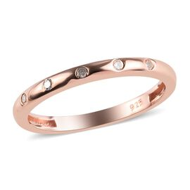 Diamond (Rnd) Button Band Ring in Rose Gold Overlay Sterling Silver