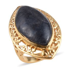 21.50 Ct Blue Aventurine Solitaire Ring in 18K Gold Plated