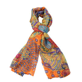 100% Mulberry Silk Garden Themed Pattern Scarf (Size 180x110Cm) - Orange and Multi