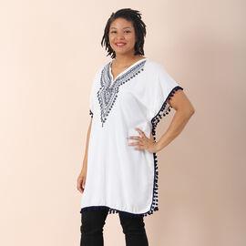 JOVIE 100% viscose Kaftan with Embroidery (Size 88x78cm) White & Black