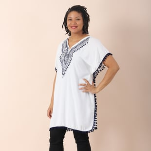 JOVIE Embroidered Kaftan With Tassel Detailing - White and Black