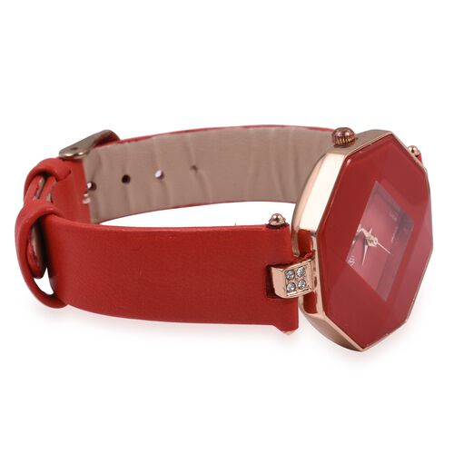 STRADA Japanese Movement White Crystal Studded Water Resistant Watch with Red Strap