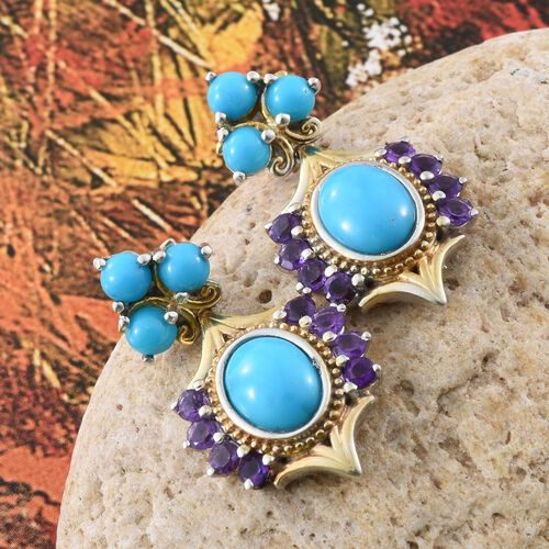 Arizona Sleeping Beauty Turquoise (Ovl), Amethyst Earrings (with Push Back) in Platinum and Yellow Gold Overlay Sterling Silver 5.250 Ct. Silver wt 6.00 Gms.