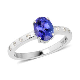 ILIANA 18K White Gold AAA Tanzanite (Ovl 1.50 Ct), Diamond (SI/G-H) Ring 1.615 Ct. Gold Wt 4.10 Gms