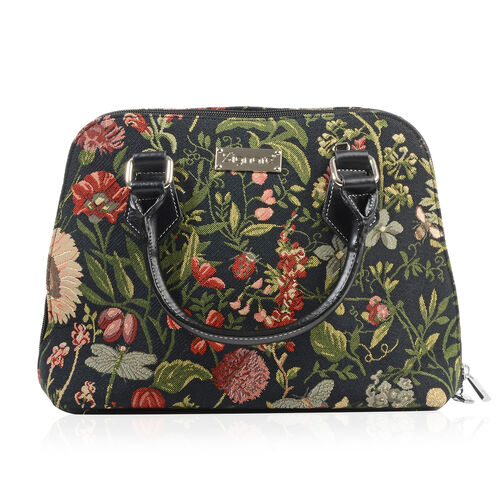 SIGNARE-Tapestry Collection - Morning Garden Black Top-Handle Shoulder Bag with Removable Strap ( 36