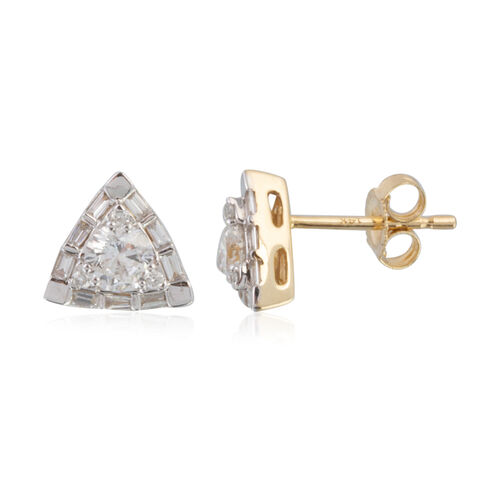New York Close Out - 14K Yellow Gold Diamond (Rnd and Bgt) (I1-I2/G-H) Stud Earrings (with Push Back) 0.630 Ct.