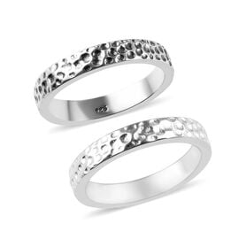 Band Ring in Platinum Plated Sterling Silver 6 Grams