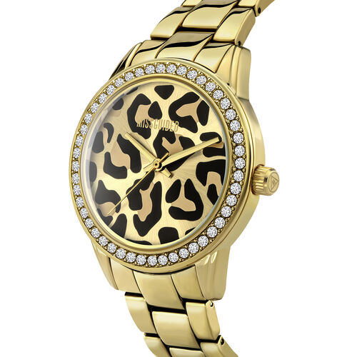 MISSGUIDED Ladies Gold Sunray Leopard Print Dial with Stone Set Bezel Watch in Gold Tone with Chain Strap