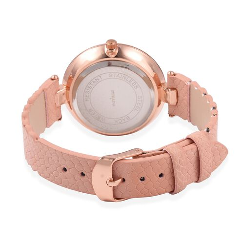 STRADA Japanese Movement Water Resistant White Austrian Crystal Studded Watch with Pink Strap
