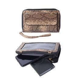 2 Piece Set - RFID Grey and White Snake Print Crossbody Bag and 4000mAh Wireless Power Bankcompar