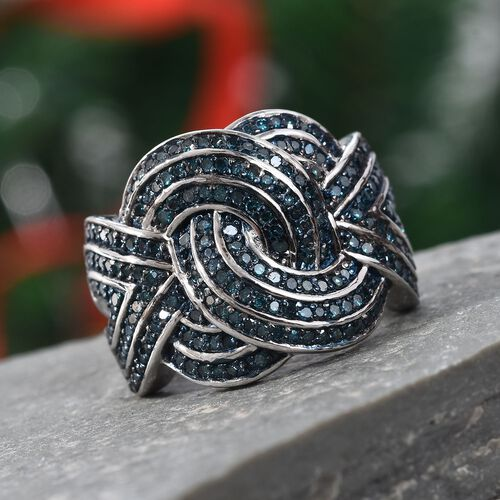 Blue Diamond (Rnd) Knot Ring in Platinum Overlay Sterling Silver 1.00 Ct, Silver wt 7.81 Gms