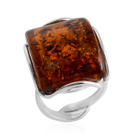 Baltic Amber Adjustable Solitaire Ring in Sterling Silver 6 Grams