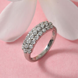 J Francis Platinum Overlay Sterling Silver Ring Made with SWAROVSKI ZIRCONIA 1.31 Ct.
